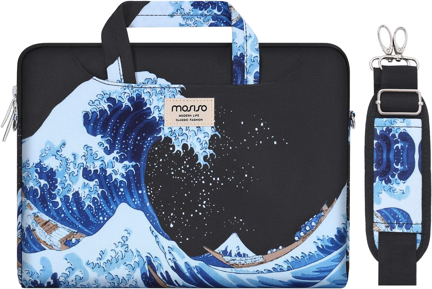 MOSISO Laptop Shoulder Bag Compatible with 2019 MacBook Pro 16 inch A2141, 15 15.4 15.6 inch Dell Lenovo HP Asus Acer Samsung Sony Chromebook, Sea Wave Carrying Briefcase Sleeve Case with Trolley Belt