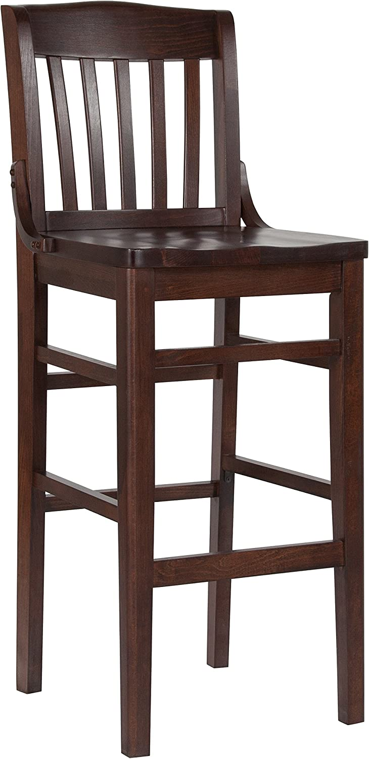 Flash Furniture HERCULES Series School House Back Walnut Wood Restaurant Barstool