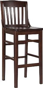 Flash Furniture HERCULES Series School House Back Walnut Wood Restaurant Barstool