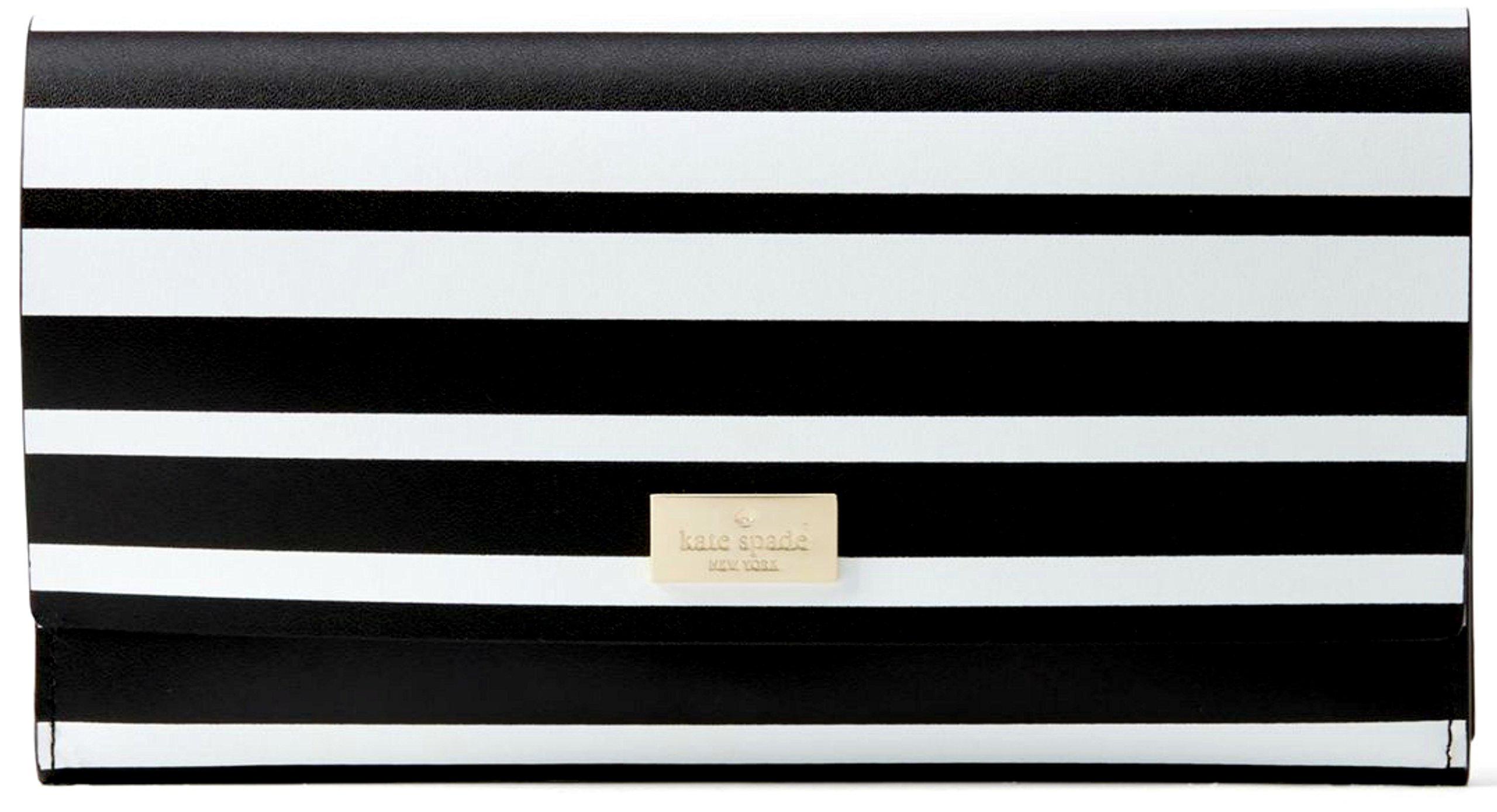 Kate Spade Putnam Drive Street Black & White Stripe Pim Leather Wallet
