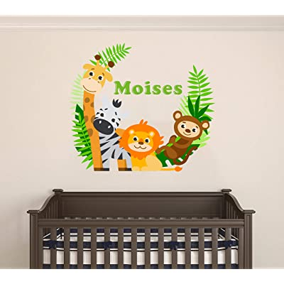 """Custom Name Jungle Animals - Baby Safari Animals Series Theme Wall Decal - Wall Decal for Nursery Bedroom playroom Decoration (Wide 30""""x26"""" Height): Home & Kitchen"""