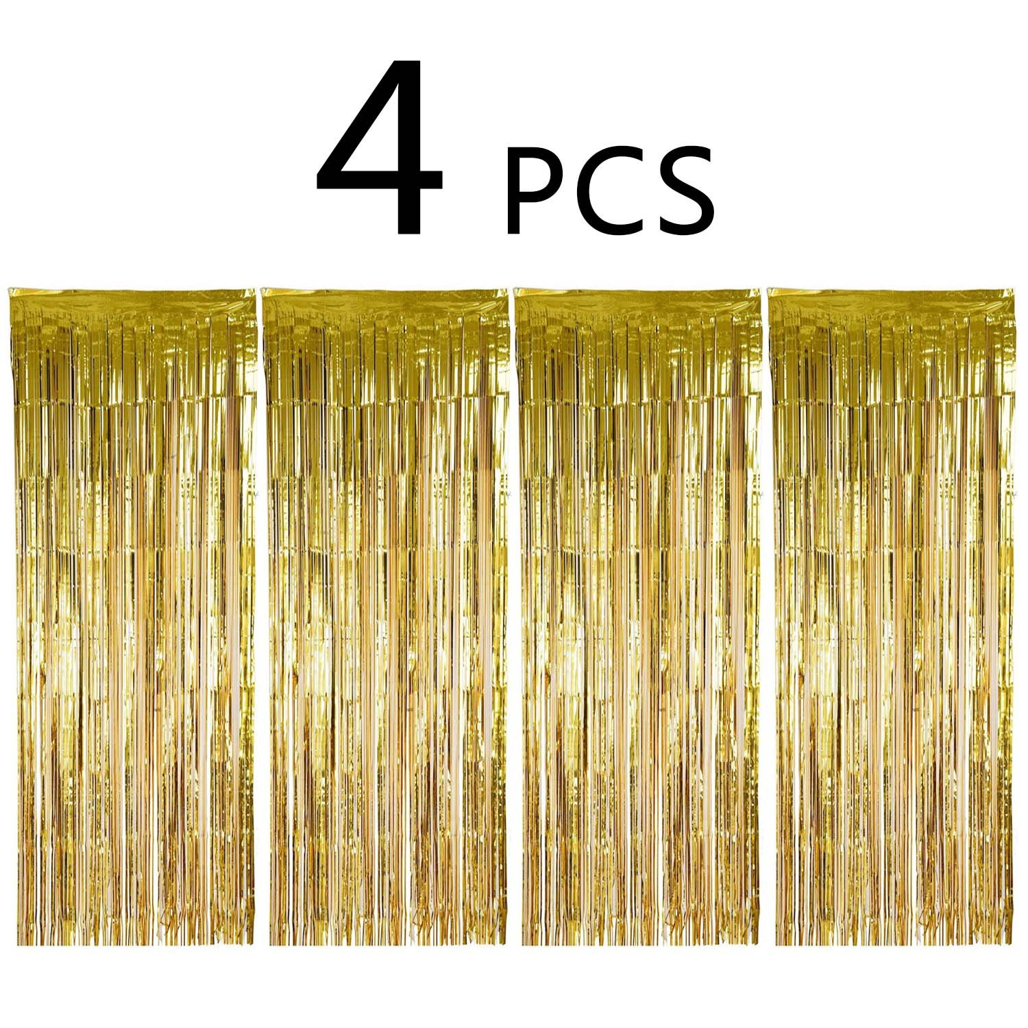 Enthur Foil Curtains Metallic Fringe Curtains Shimmer Curtain for Birthday Wedding Party Halloween Christmas Decorations 4 Pack (Gold)
