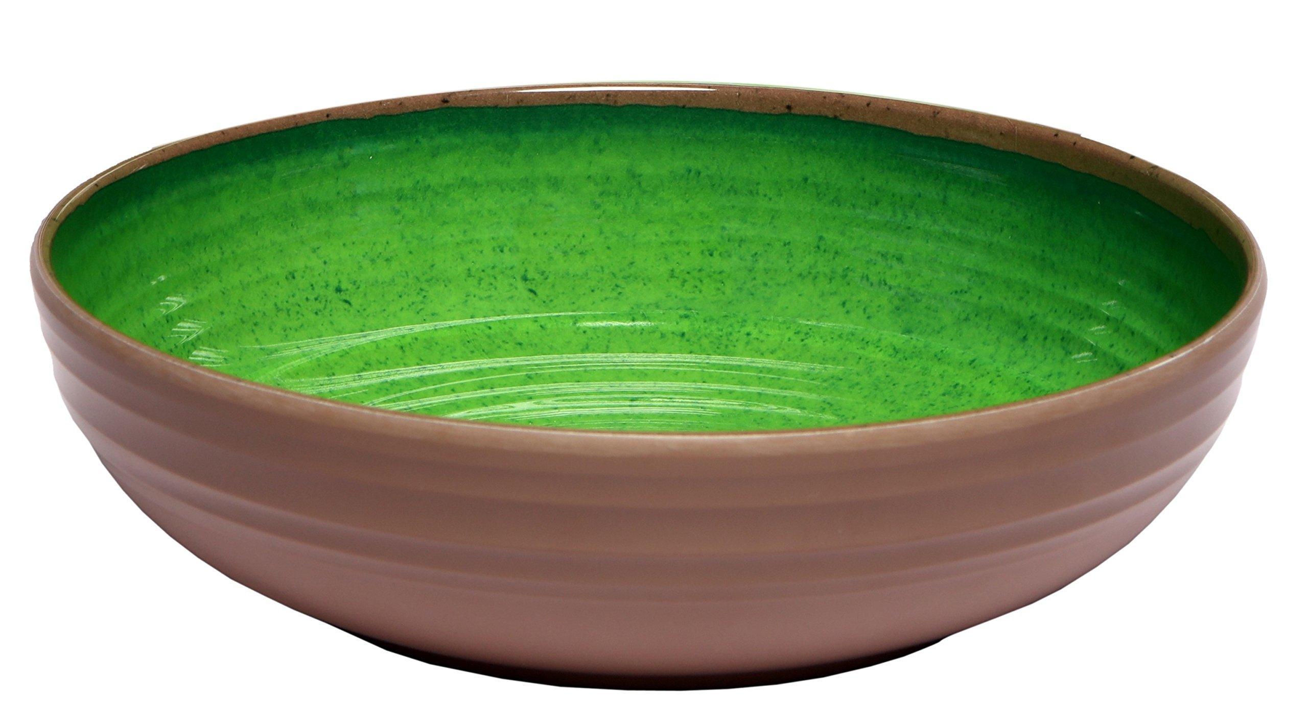 Melange 6-Piece 100% Melamine Pasta Bowl Set (Clay Collection) | Shatter-Proof and Chip-Resistant Melamine Pasta Bowls | Color Green
