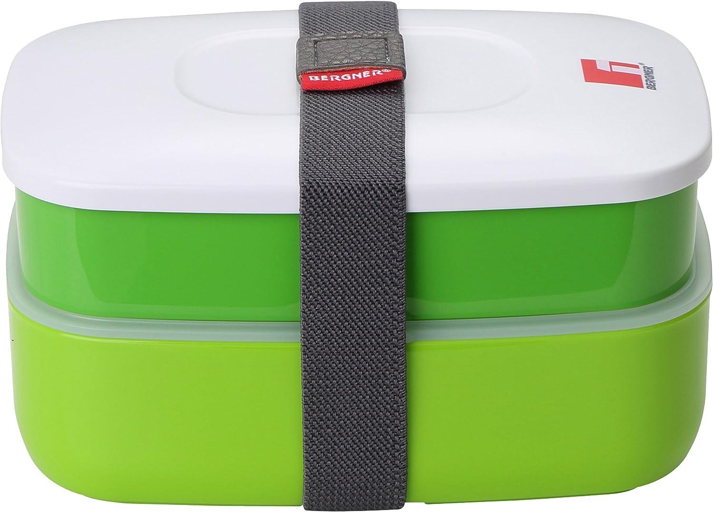 Bergner Walking Pleasure Set hermético 2 Capas + Cubiertos, Verde, Blanco y Gris, 11.7x18x10.2 cm