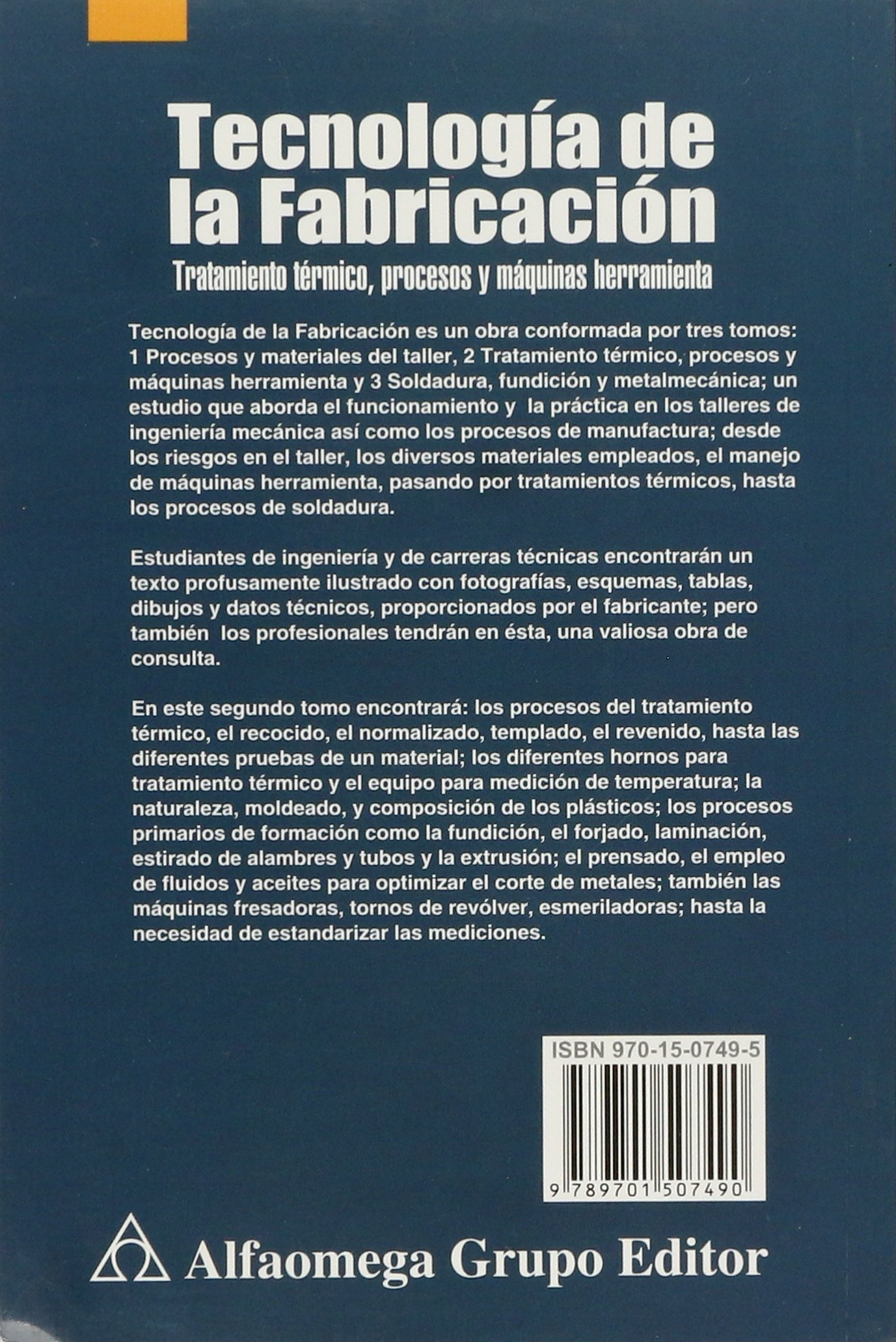 TECNOLOGIA DE LA FABRICACION TOMO 2 by TIMINGS: 9789701507490: Amazon.com: Books