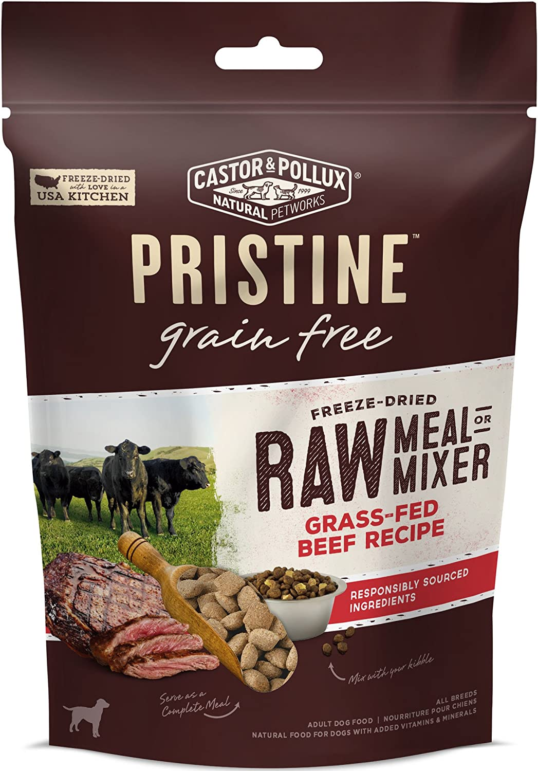 Castor Pollux Pristine Free-Range or Grass-Fed Protein Freeze Dried Raw Meal or Mixer Dog Food