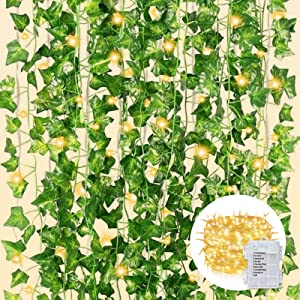 CQURE 12 Pack 84Ft Artificial Ivy Garland,Fake Ivy Garland Vines Green Leaves Hanging Vine Fake Plants with 100 LEDs Outdoor String Lights for Wedding Party Garden Wall Decoration