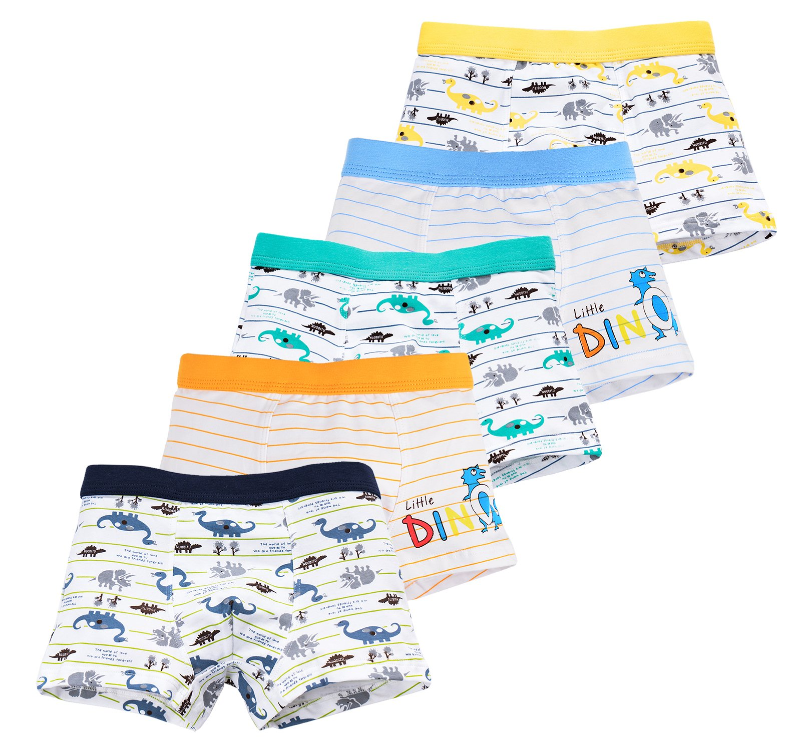 CHUNG Little Big Boys Soft Cotton Modal Boxer Briefs Underwear 5 Pack White Dinosaur, 3full-2stripe, 4T
