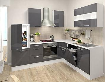 respekta Premium Leerblock L Küche 260 x 200 cm weiss grau Hochglanz ...