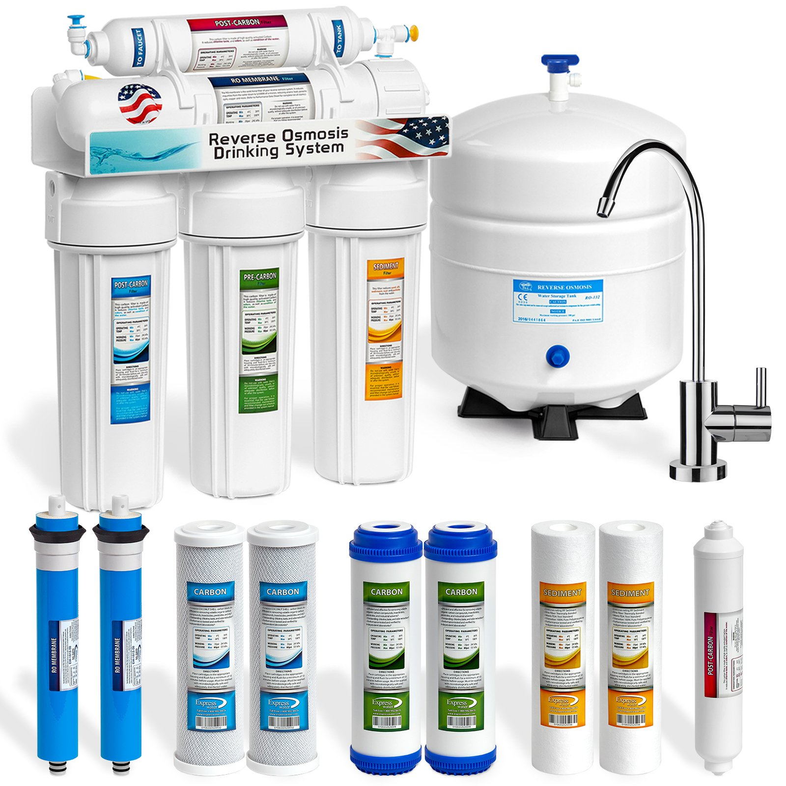 Express Water RO5MX2 5-Stage Home Drinking Reverse Osmosis Under sink Water Filtration System, 50 GPD, Modern Chrome Faucet PLUS Extra 5 Filters, Steel Tank/Brass Faucet/BPA Free Plastic