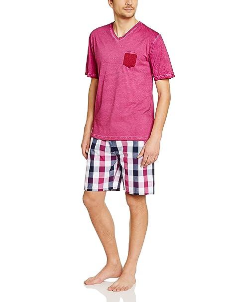 MARINER Pyjacourt bi-matière Jersey Popeline - Pijama para Hombre, Color Pink - Rosa