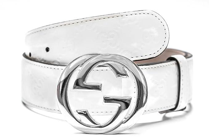 Gucci blanco cinturón de plata Hombres y mujeres correa de cuero blanco  a22a071340a