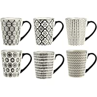 H&H Vhera uppsättning av 6 muggar mugg, stoneware, 350 ml, svart/vit
