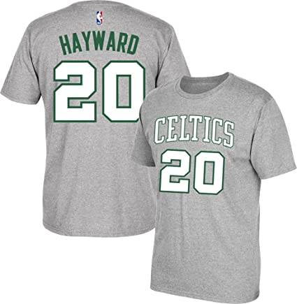 online retailer 4b66b c08ef adidas Gordon Hayward Boston Celtics Grey Name and Number T-Shirt