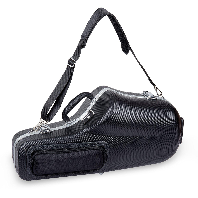 Crossrock CRA860ASBK Alto Saxophone Case- Contoured ABS Molded with single shoulder strap in Black