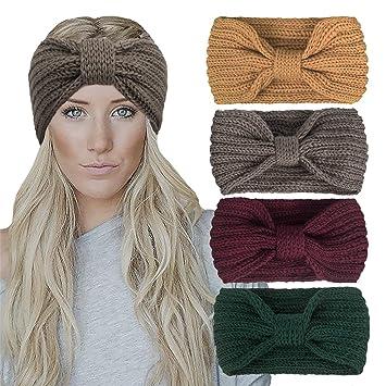 Women Ladies Winter Crochet Knitted Knot Turban Headband Hair Band Ear Warmer