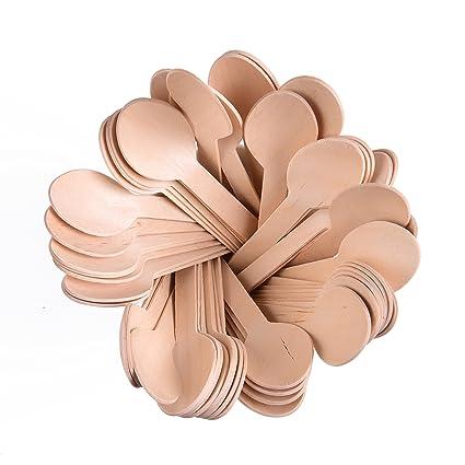 Roots Pack - Cucharas de Madera Desechables de 15,24 cm - Paquete de 100
