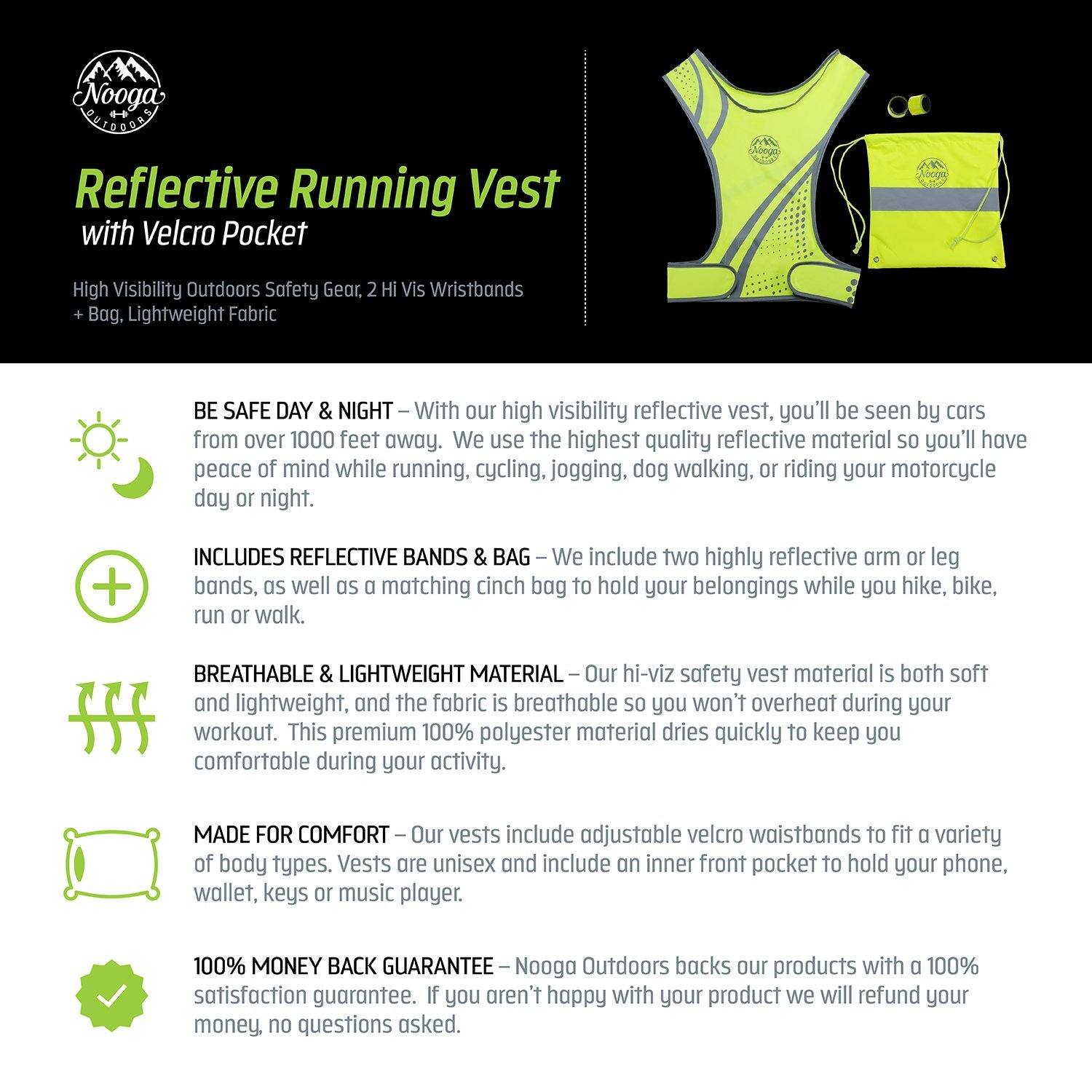 2 Hi Vis Wristbands Lightweight Fabric Reflective Running Vest with Pocket for Cycling Jogging Biking Hiking Dog Walking Motorcycle High Visibility Outdoors Safety Gear Bag