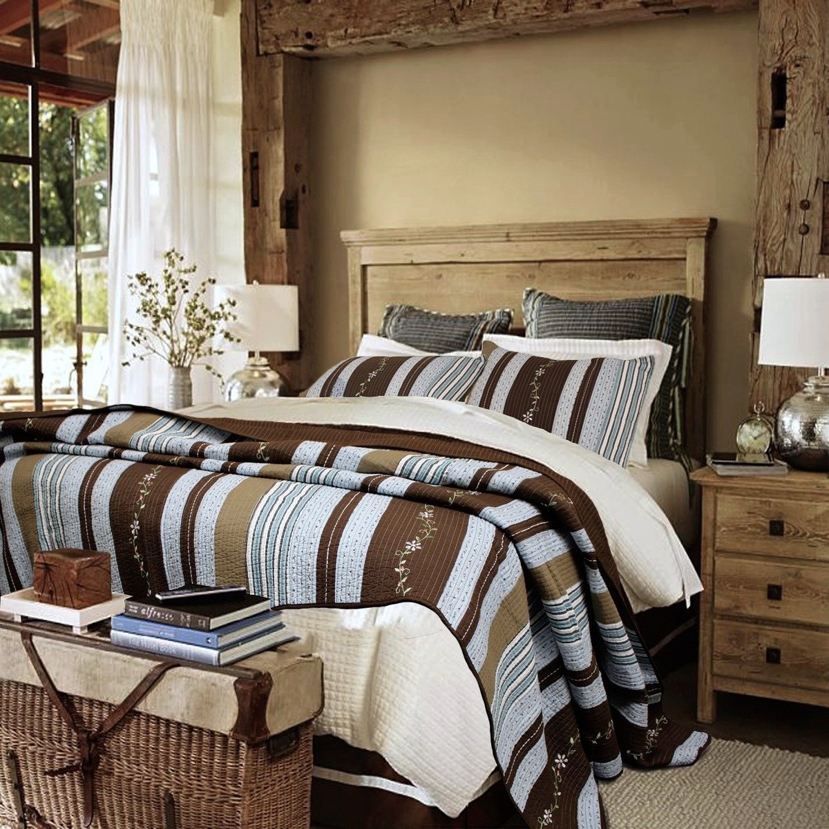 Lake House Blue Rustic Resort Walnut Brown Cabin Woods Stripes with Floral Vine Accents Quilt Set - Queen