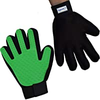 Zenify Pets Hair Grooming Glove Mitt for Deshedding Fur Removal from Pet Cats, Kittens, Rabbits, Guinea Pigs, Dogs, Puppies (Green (Right Handed))