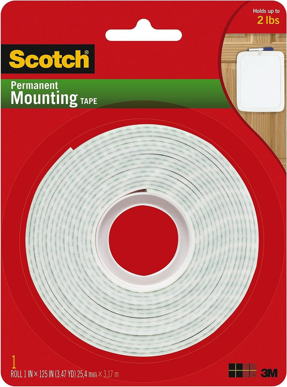 """Scotch 191W Plastic Tape 1 1//2/"""" x 125/"""" White"""