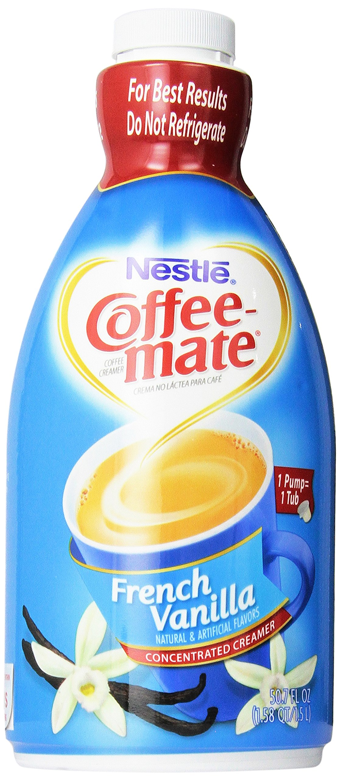 Nestle Coffee Mate Coffee Creamer, French Vanilla Bottle with Pump, 50.7 Ounce