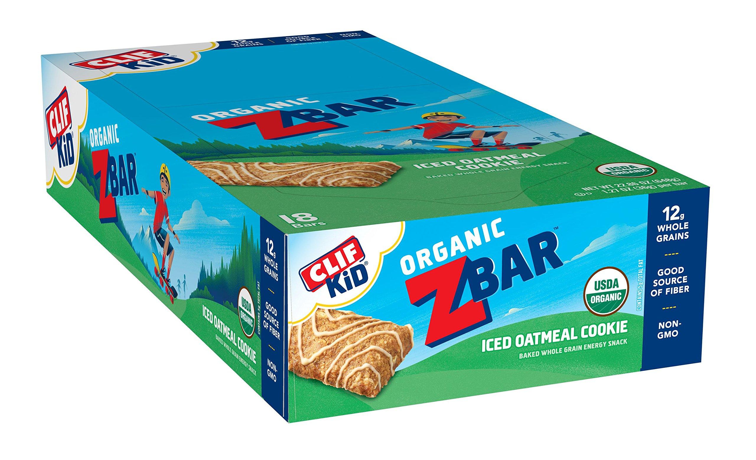 CLIF KID ZBAR - Organic Energy Bar - Iced Oatmeal Cookie - Baked Whole Grain Energy Snack Bar (1.27 Ounce Snack Bar, 18 Count)