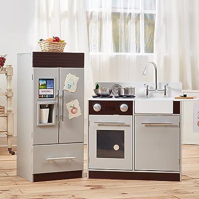 Cocina de juguete grande de madera gris de Teamson Kids TD-12302B: Juguetes y juegos