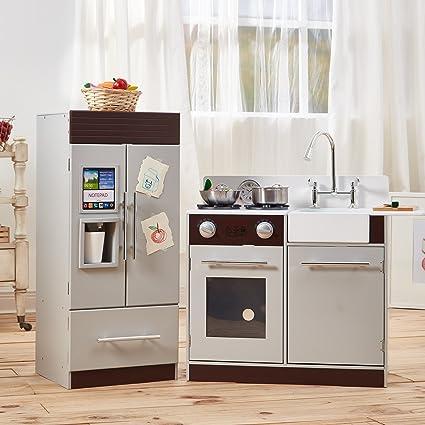 d4f25b69cbb Amazon.com  Teamson Kids - TD-12302B Modern Play Kitchen with Ice ...