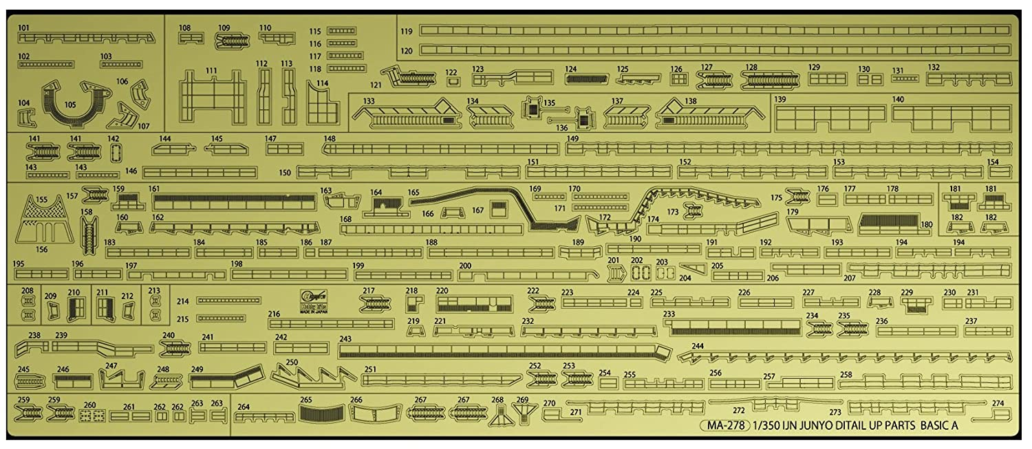 Hasegawa HQG63 1:350 Scale IJN Aircraft Carrier Junyo Detail Up Etching Parts Basic A Model Kit