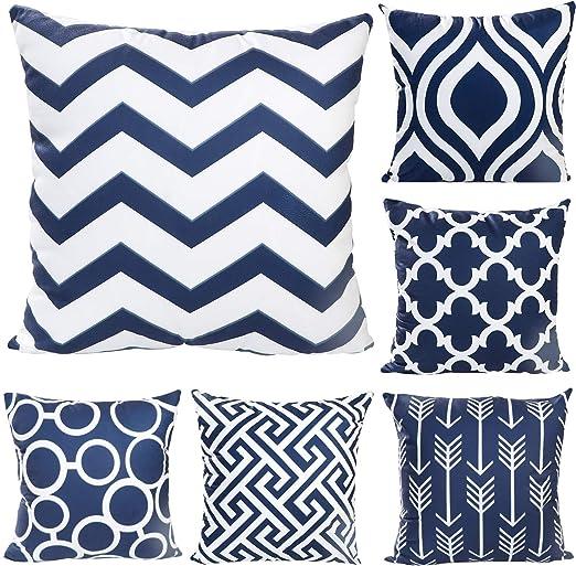 JOTOM - Juego de 6 fundas de cojín cuadrada de lino y algodón, para decoración de sofá o habitación, 45 x 45 cm, Patrón azul oscuro., 45 x 45 Centimeters: Amazon.es: Hogar
