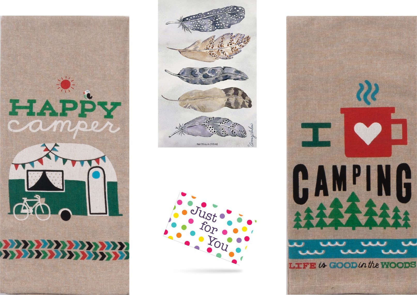 Just 4 U Gifts J4U Happy Camper Kitchen Set - I Heart Camping Happy Camper Towels and Feathers Scented Sachet with Gift Tag by Just 4 U Gifts (Image #1)
