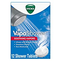 Vicks VapoShower, Shower Bomb Tablets, Soothing Vicks Vapors Steam Aromatherapy with Eucalyptus and Menthol, Non-Medicated, 12 Tablets (4 Boxes of 3)