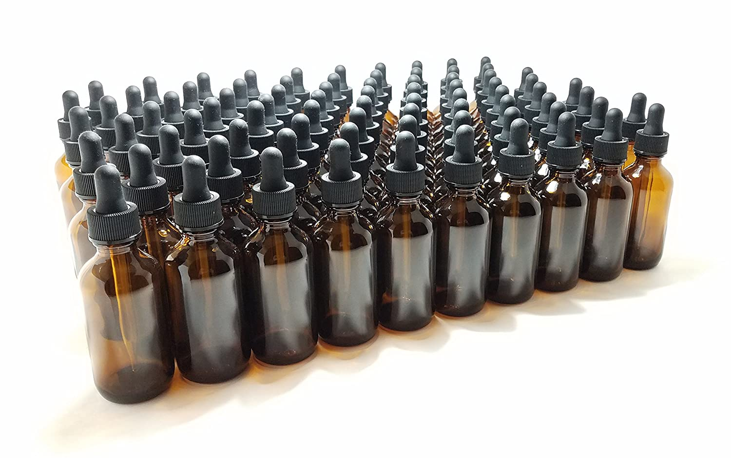 J E Supplies 2oz Amber Glass Dropper Bottles 60mL with Tapered Glass Droppers For Essential Oils – Pack of 80 – Wholesale – Bulk