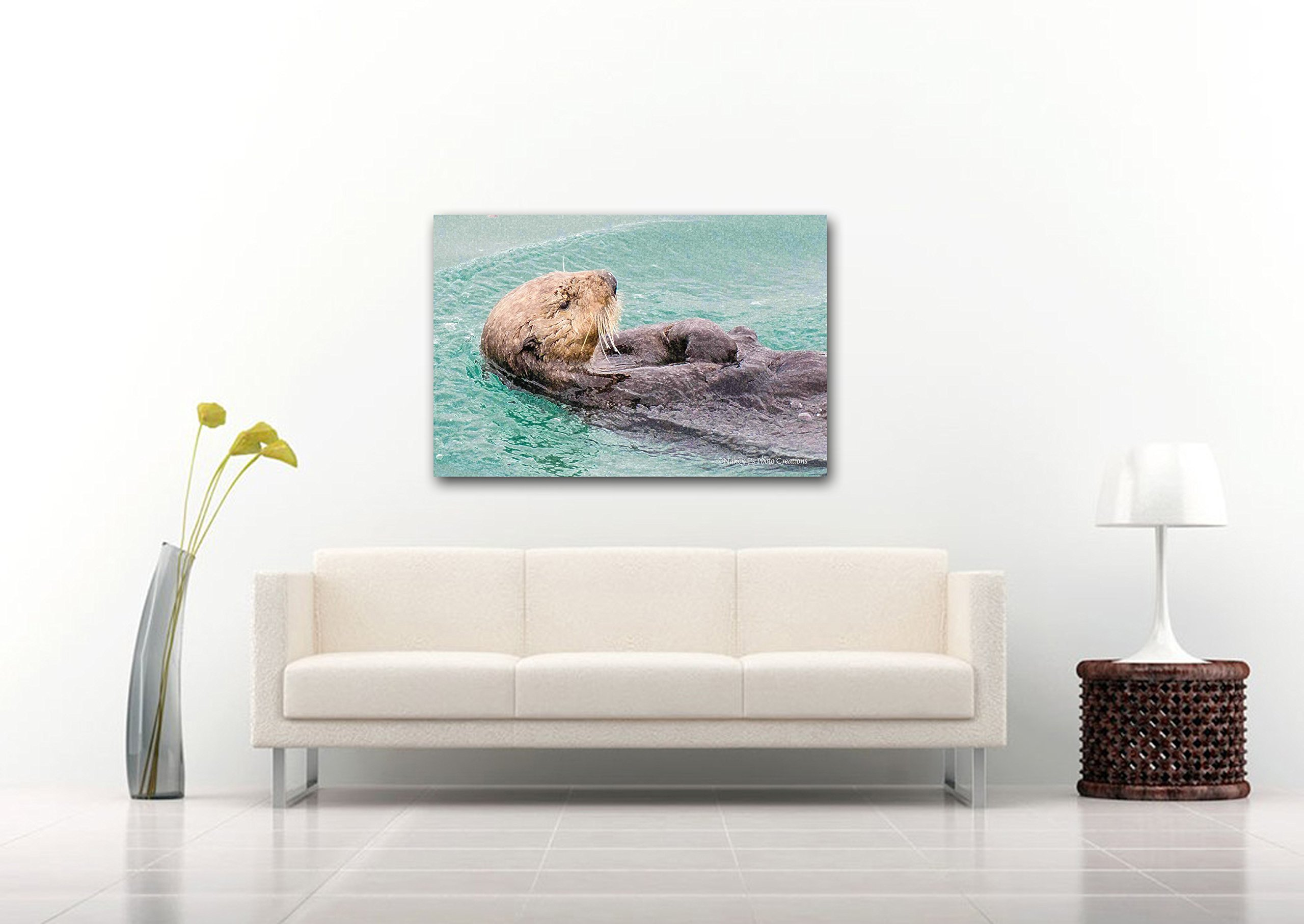 Personalized CANVAS Gift for Child Teal Nursery Decor Adorable Otter Print Sea Animal Photography Bright Digital Wall Art Alaska Ocean Wildlife Nature Photo Ready to Hang 8x12 12x18 16x24 20x30 24x36