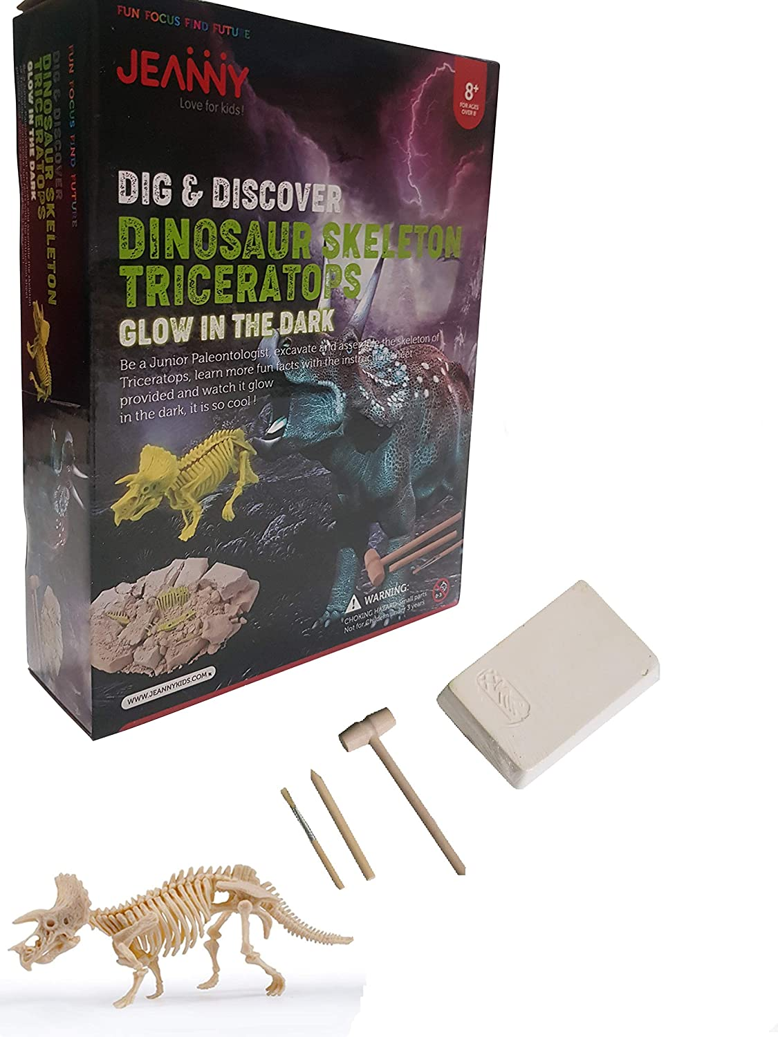 New Recruits Dinosaur Fossil Dig Kit - Triceratops Paleontology Science Set with Digging Block, Glow-in-The-Dark Dino Bones, and Excavation Tools-Fun and Educational Gift for Boys and Girls 8 and Up