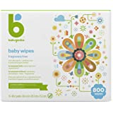 Baby Wipes, Babyganics Unscented Diaper Wipes, 800 Count, (10 Packs of 80), Non-Allergenic and formulated with Plant Derived