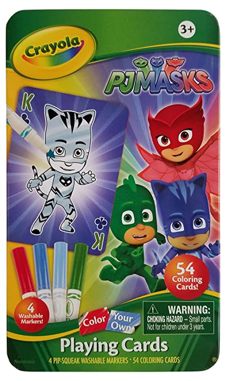 PJ Masks Color-Your-Own Playing Cards with Storage Tin by Crayola