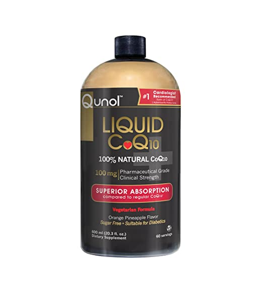 Qunol Ultra High Absorption All Natural Liquid CoQ10 100mg, Orange Pineapple, 20.3 oz Bottle, 60-Servings