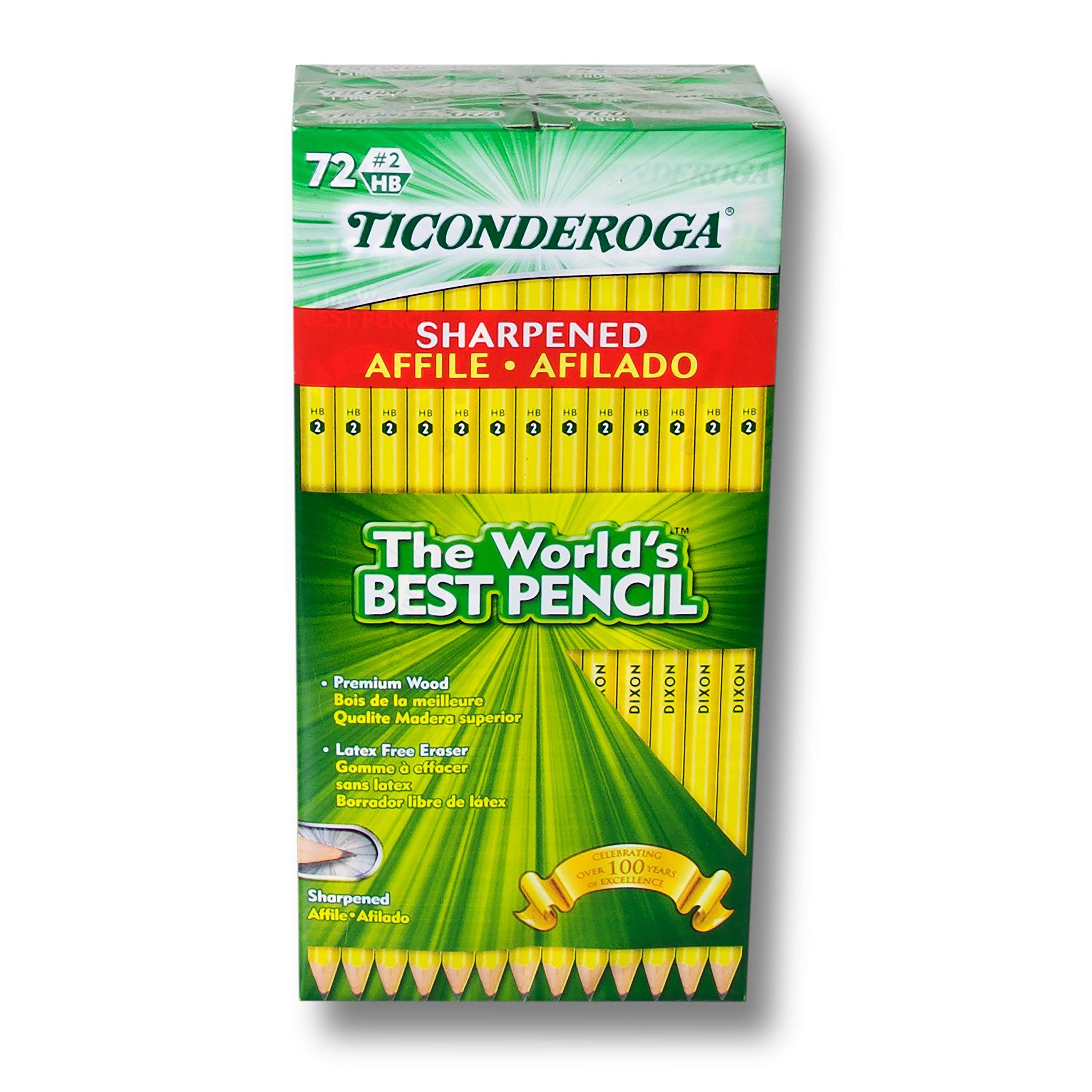 Ticonderoga Pre-Sharpened #2 Pencil with Eraser, Pack of 72 by Ticonderoga (Image #2)