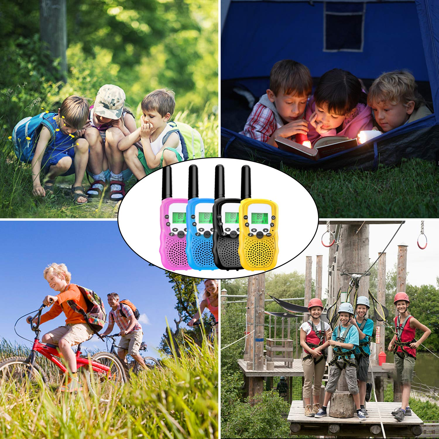 4 Pack Kids Walkie Talkies - 22 Channels 2 Way Radio Long Range Kids Toys, Handheld Child Walkie Talkies for Boys Girls with Flashlight for Sport Outdoor Camping Hiking Prime Electronic Toy Gifts by AMENON (Image #7)