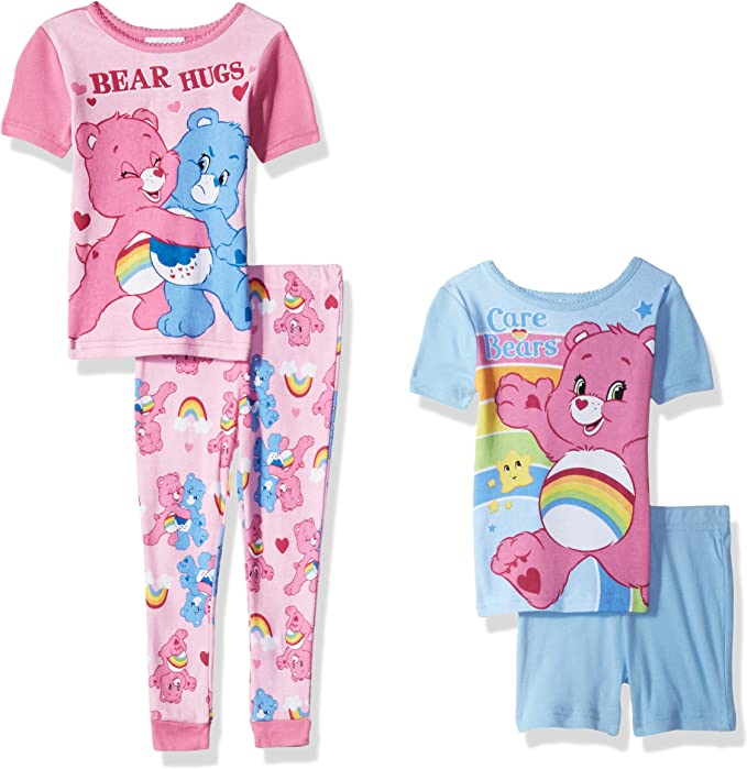 Care Bears Girl 4 PC Long Sleeve Tight Fit Cotton Pajama Set Size 4T