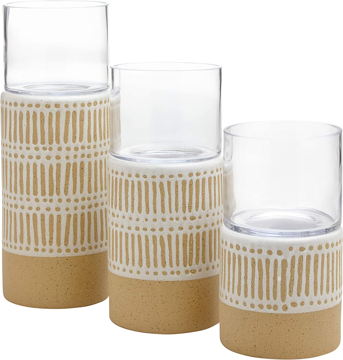 Amazon Brand – Stone & Beam Emerick Rustic Cylinder Hurricane Decor with Glass Vase Holder - Set of 3, Brown and White