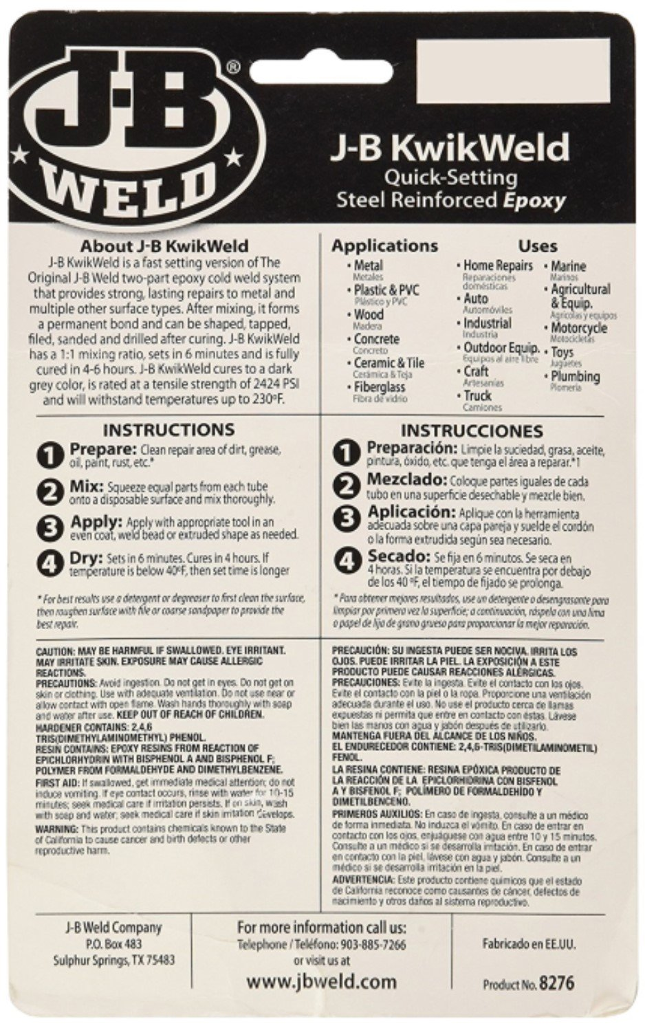 J-B Weld 8276 KwikWeld Quick Setting Steel Reinforced Epoxy - 2 oz, Pack of 4