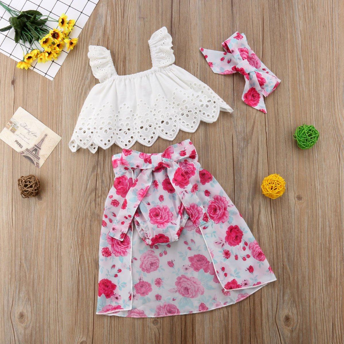 Headband Baby Girl 4Pcs Floral Print Outfit Set Ruffle Top+Bowknot Skirts+Shorts