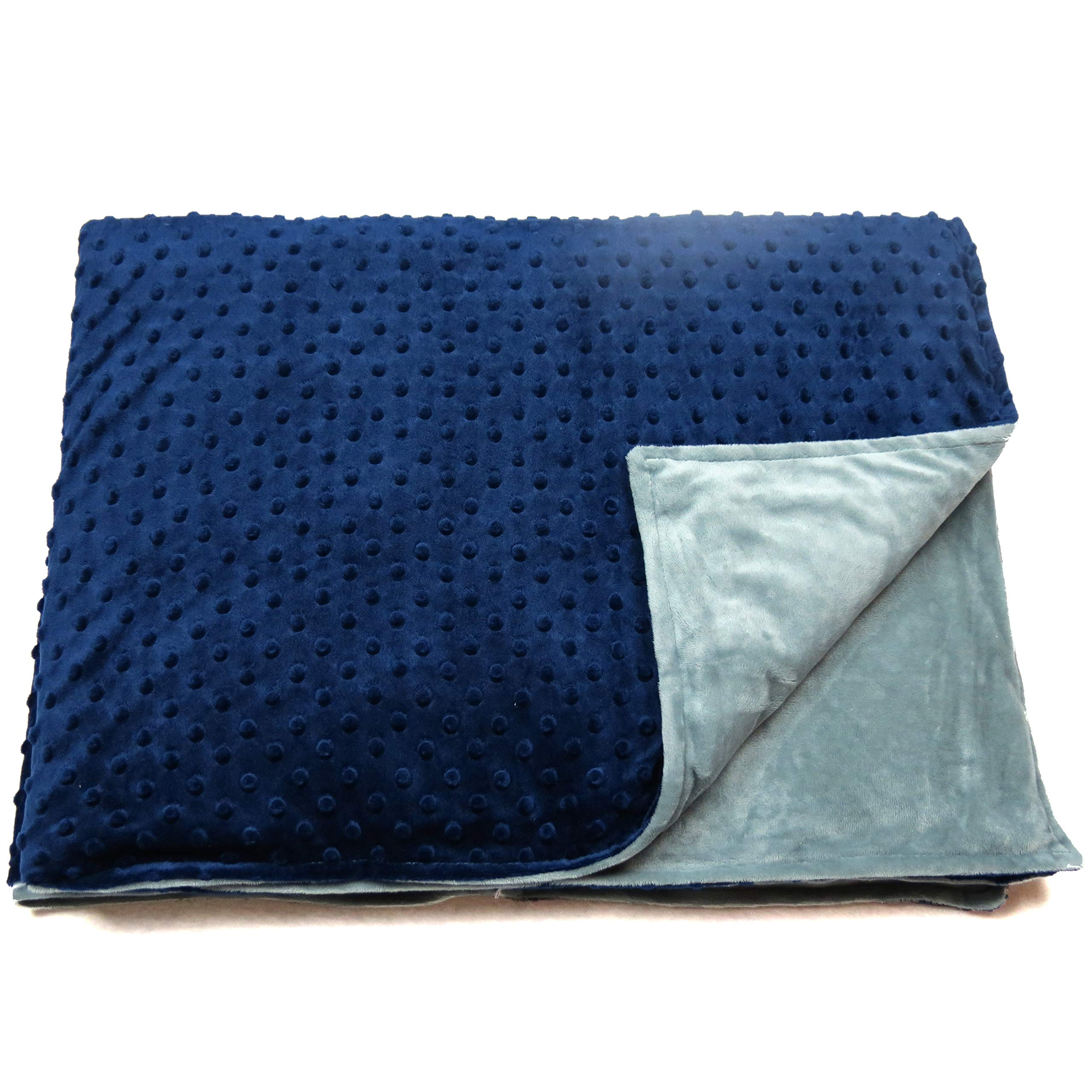 Roore 5 lb Children's (for 50lb individual) 36''x48'' Navy Blue and Gray Weighted Blanket with Dotted Minkey Cover. Fall Asleep Faster Perfect for kids with Anxiety OCD Stress ADHD Autism