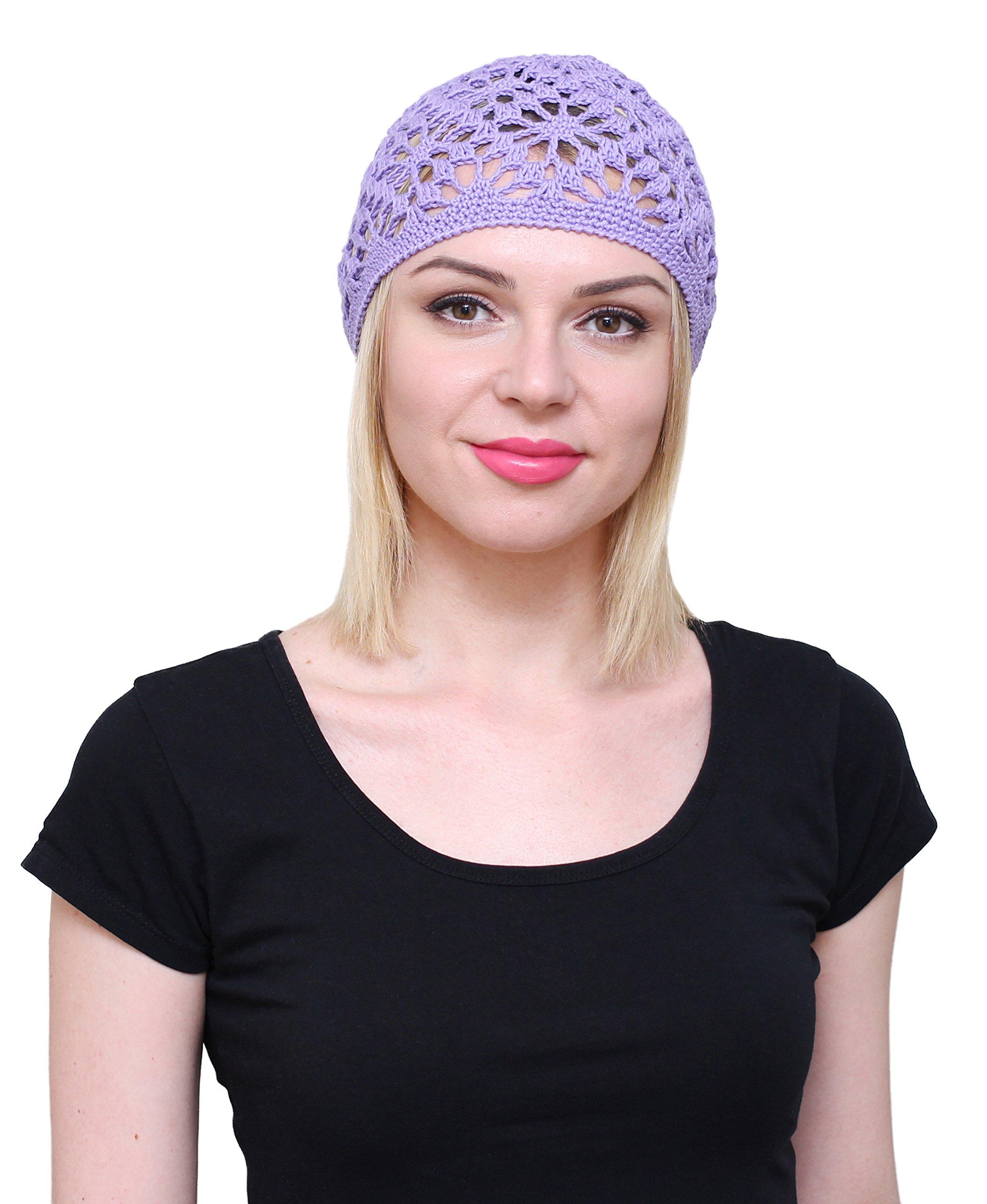 NFB Cotton Hats for Women Ladies Summer Beanie Lace Cloche Hair Accessories Cap (Violet) by NFB (Image #2)