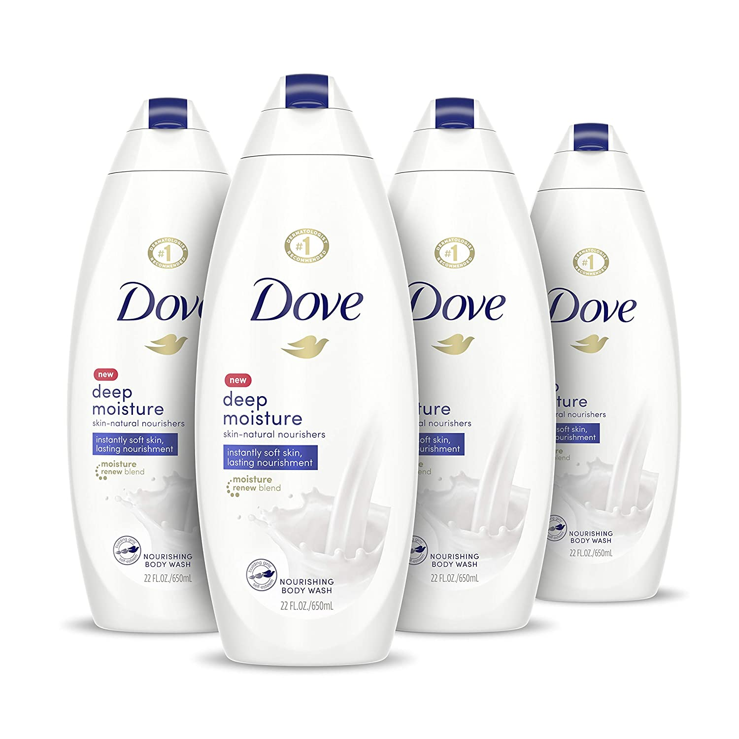 Amazon Com Dove Body Wash With Skin Natural Nourishers For Instantly Soft Skin And Lasting Nourishment Deep Moisture Sulfate Free 22 Oz 4 Count Beauty