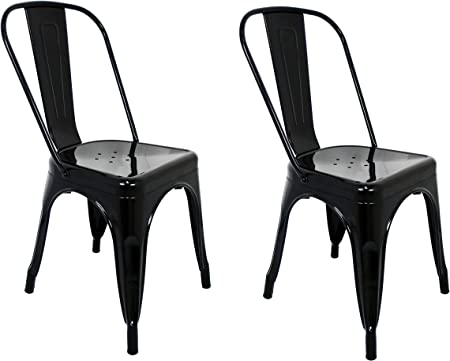 La Silla Española - Pack 2 Sillas estilo Tolix con respaldo. Color Negro. Medidas 85x54x45,5: Amazon.es: Hogar