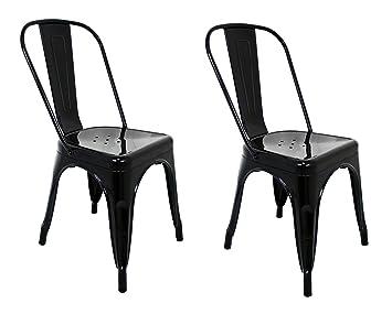 La Silla Española - Pack 2 Sillas estilo Tolix con respaldo. Color Negro. Medidas 85x54x45,5